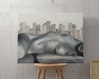 Giclee CANVAS - City Lounging - Stretched Canvas Giclee Art Print of Original Oil Painting