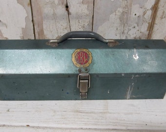 "Vintage ""K R Wilson "" Green Metal Tool Box, Garage Equipment , Steel Tool Box, Industrial Box, Storage"