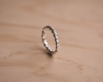 Twisted Rope Design Sterling Silver Ring