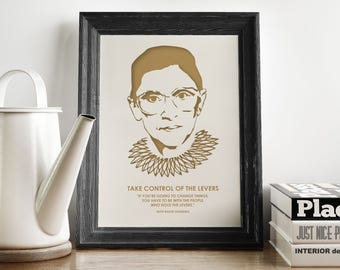 Ruth Bader - Minimalist Poster – Romantic Wall Art – Art Prints – Law School Gift – Feminist Quotes – Hipster – Gold Office Art