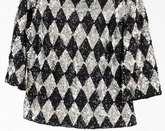 Vintage black and silver harlequin sequin jacket