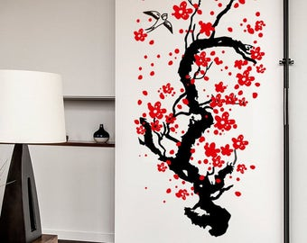 Japanese Cherry Tree Blossom Wall Sticker Decal Art