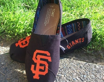 MLB logo painted TOMS shoes Baseball