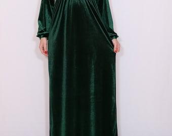 Emerald green maxi dress Velvet dress Long sleeve dress Dark green dress