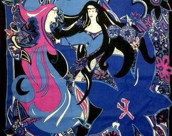Exotic PARIS square scarf - Dance of the 2 Nymphs