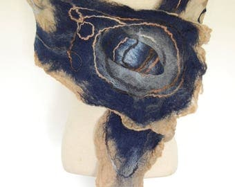 Nuno Felted Scarf, Silk Scarf, Felted Scarf, Women's Scarf, Navy, Blue and Tan Scarf, Unique Handmade Scarf