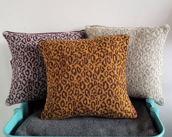 Knitted Leopard Print Cushion made from reclaimed Shetland Wool - eco, sustainable, animal print, homeware, leopardprint, gift, new home