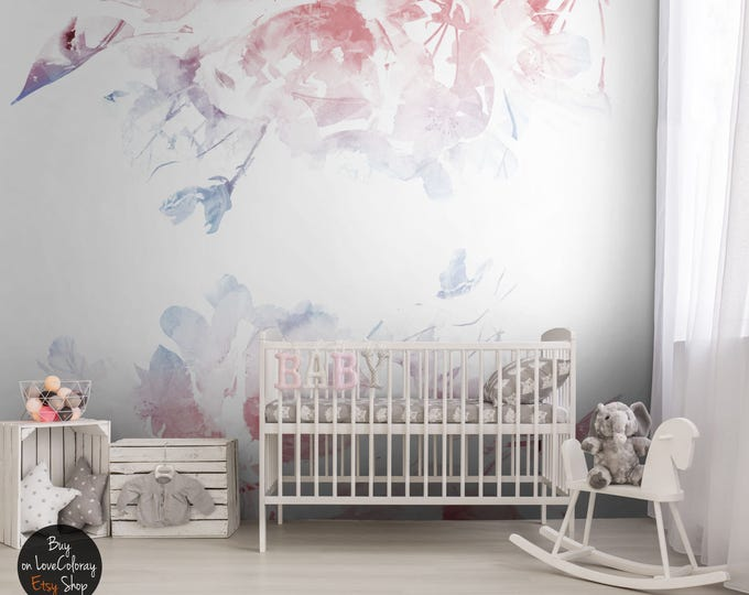 SERENITY, ROSE QUARTZ nursery floral Removable Wallpaper, Floral decor, Floral wall mural,  Temporary wallpaper  #29
