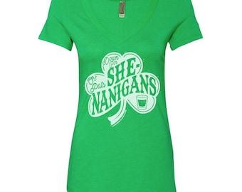 Down for Shenanigans ladies V-neck - St Patty's Day - St Patricks day shirt - Irish Shirt - Clover shirt - Shamrock shirt - irish gifts