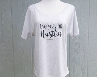 Hustle t-shirt, women's shirt, trendy clothing, girl boss, women's wear, gifts for women, mom boss shirt, boat neck tee, off the  shoulder
