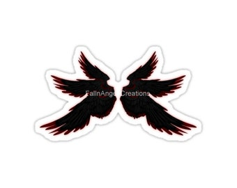 Black Red Archangel Wings Sticker, 4 Sizes Available! - Supernatural, Lucifer