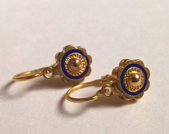 Antique Victorian Pair of 9ct Yellow Gold and Blue Glass Enamel Dormeuse Child Earrings, c.1800s, Crown Mark (French?)