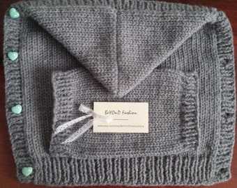 Knitted Grey Front Baby Carrier Cover and Hoodie Baby Wrap Cover Accessories Beyond Fashion