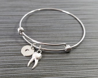 Silver Tooth Bracelet - Dentist Bracelet - Personalized Bracelet - Dentist Gift - Bangle Bracelet - Dental Assistant Bracelet - Gift Idea