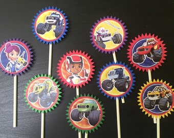 Blaze and the Monster Machine Cupcake Toppers (9), Blaze Birthday Party, blaze cupcake topper, blaze cake topper, blaze