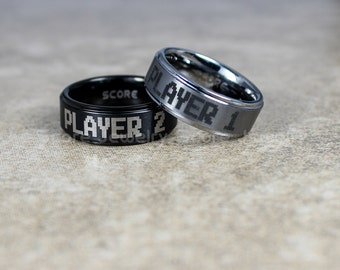 free shipping free custom engraving 2 piece couple set tungsten bands with step edge player 1 - Gamer Wedding Rings