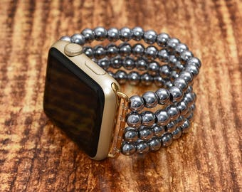 Silver Hematite apple watch strap // apple watch band 42mm - iwatch strap iwatch band 38mm - lugs adapter accessories - no-clasp stretch fit