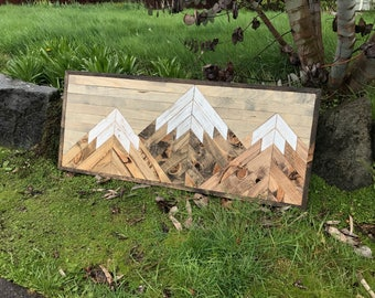 Three Rustic Wood Mountains Wall Art - Large