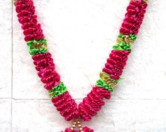 Pink n green ribbon wedding garland, photo or statue garland, idol garland, Indian god idol decoration, puja supply, home decor, prayer mala