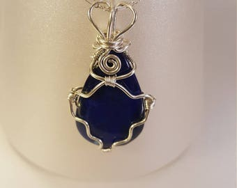 Silver and Lapis Lazuli Teardrop Pendant Necklace
