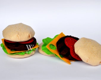 Felt Burger / Sets Of 2 Felt Burger / Felt Play Food