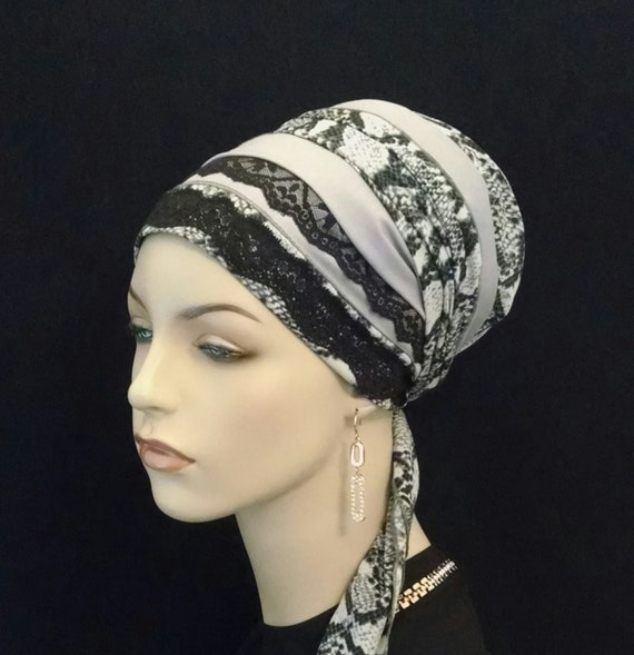 Sophisticated silky snake print with lace, Sinar tichel, tichels, apron tichels, head wraps, chemo scarves, mitpachat