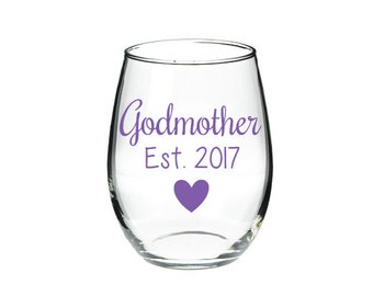 Godmother Wine Glass- Will you be the Godmother glass- Baby Reveal Glass- Godmother Gift-Baptism Gift- New Godmother Gift- Personalized Gift