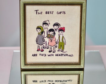 """Vintage Folk Art Needlepoint//Paint Piece: """"The Best Gifts are Tied w/ Heartstrings."""" ADORABLE."""