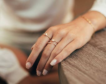 Open cz ring - adjustable cz ring - dainty silver ring - gold minimal ring - open zirconia ring - minimalist rings - white stone ring