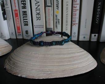 Blue crazy lazy agate/blue and purple hemp hand-knotted bracelet