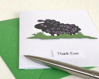 Thank Ewe Card - Sheep Card - Handmade Greeting Card - Thank You Card -  Cute Card