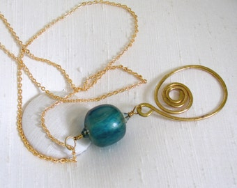 Hammered Brass Swirl with Aqua Acrylic Bead Pendant Necklace ~ Upcycled Recycled Bead ~ Freeform Swirl Dangle - 18 inches