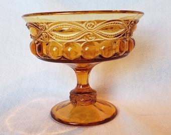 AMBER EYEWINKER DISH Candy Mosser Compote Carnival Glass Pedestal Bowl Serving Vintage Retro