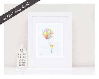 Printable Nursery Art''Flying''-Printable Illustration-Boys Wall Decor-Baby Room-Balloons-Children Art-Kids Digital Print-Instant Download