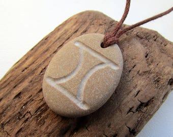 Gemini Pendant, Engraved Beach Pebble Pendant with Zodiac Sign Gemini, Men's Pendant