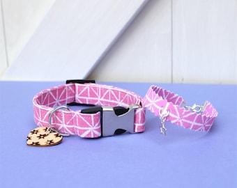 Pink Block-printed Fabric Dog Collar with Friendship Bracelet - Burst