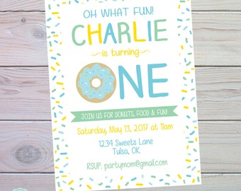 Donut Party Invitation | Donut Birthday Party | Donut Birthday Invitation | Donut Party Decorations | Boy Donut Party | The Party Darling