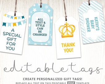 View editable gift tags by handsintheattic on etsy printable baby shower gift tags editable party favor labels thank you hang tags negle Gallery