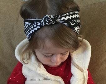 Knot turban headband, Baby Head Wraps, baby Aztec turban, Black and White,  baby headband