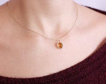 Citrine Necklace, Gold Citrine Necklace, November Birthstone Necklace, Gold Gemstone Necklace, Yellow Gem Necklace, Citrine Pendant, GN0341