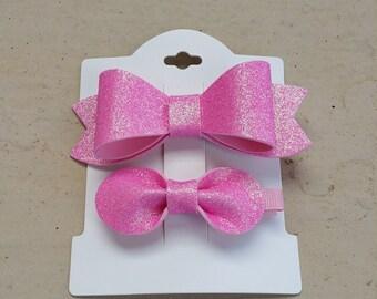Pink Glitter Felt Girls Hair Bow Set- Kids Hair Bows - Girls Hair Bows  - Girls Hair Clips - Toddler Hair Bows - Hair Clips-100% Hand Made