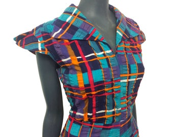 Vintage 1970s Bright Check Print Textured Cotton Wing Collar Summer Dress 10