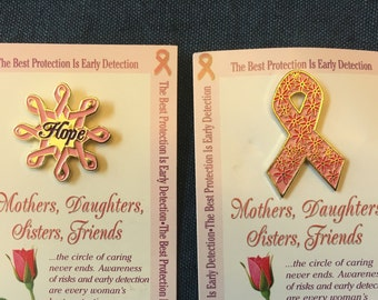 BREAST CANCER Pin, 4 to Choose From, For Mothers Daughters Sisters Friends, Card with Pin, Pink Ribbon, Awareness