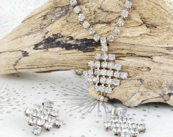 Vintage Diamante Necklace and Earrings - Vintage Bridal Necklace - Mother's Day Gift - Gift for Women - Delicate Rhinestone Necklace