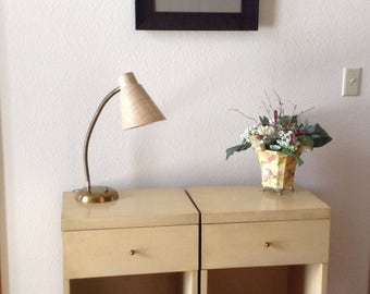 Vintage Night Stand, Set of Two Mid Century Modern Blonde Nightstands, Side Tables, End Tables