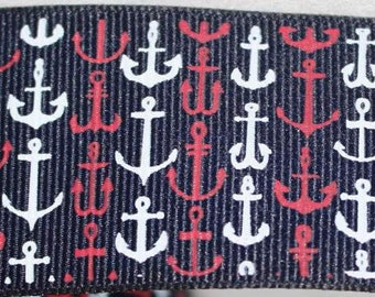 """Nautical Print  1.5"""" Collar with Side Release Buckle (Martingale Option Available)"""