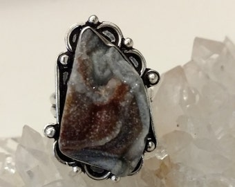 CLEARANCE *Conchine Agate Druzy  Ring, Size 8