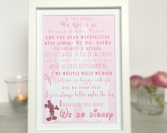 In This House We Do Disney, Disney Theme Print, Disney Quote Print, Disney Print, Disney Wall Art, Disney Cartoon Print, Disney Gift, Disney
