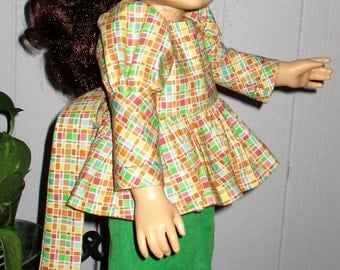"""18"""" ag green pants, hat and matching blouse, bright green pinwale corduroy ag pants and hat with matching blouse, 3 piece ag doll pants suit"""