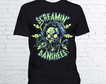 The Screamin' Banshees T Shirt - Available in Mens and Ladies Fit - Halloween Horror Tee Universal Monsters Banshee Coffin Irish Folklore